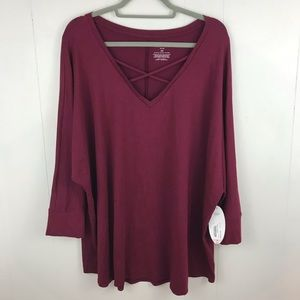 6a508a52d04 Boutique Plus NWT Maroon 3 4 Sleeve Top Size 3X